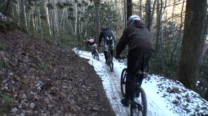 Snowy trail at the Icycle (photo courtesy Fontana Village Resort)