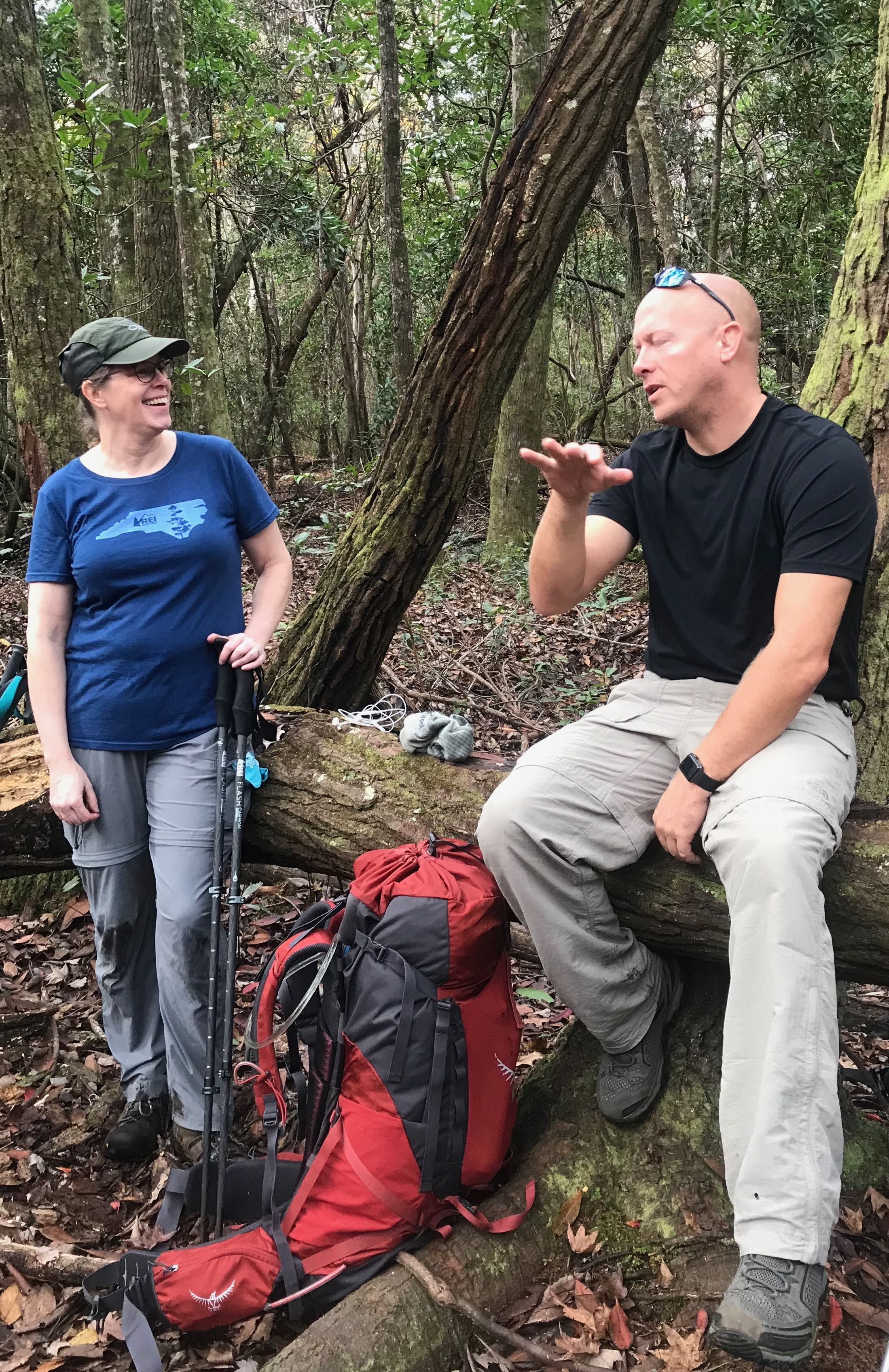 Backpacking philosophy shared on the trail.