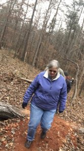 "Pam Hathaway, sans pack, taking a ""walk"" Sunday at Brumley Forest."