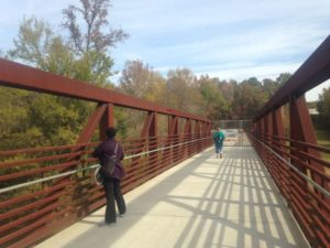 The bridge connecting Wake Forest's Smith Creek Greenway with Raleigh's Neuse River Trail.