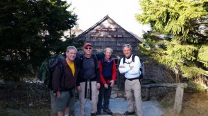 Pete, Jon, David and Scott outside their cabin on Mt. LeConte.