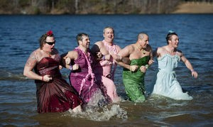 A jolly time at the Polar Plunge at Hanging Rock State Park on Jan. 1. (photo courtesy journalnow.com)